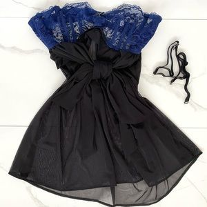ADORE ME Lace & Mesh Blue & Black Teddy